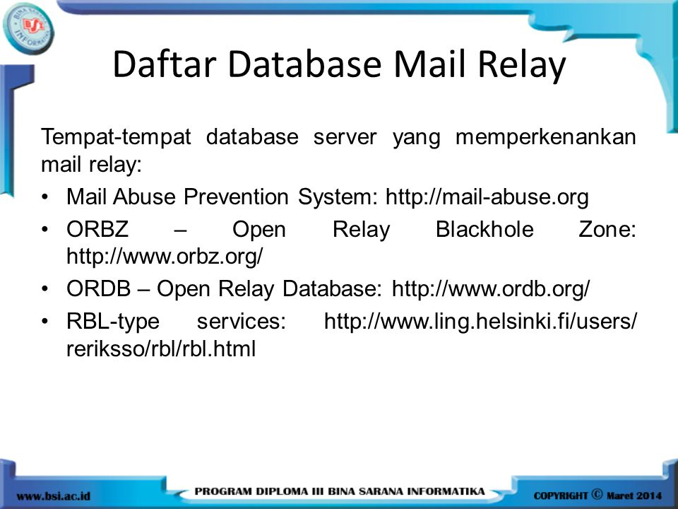 Daftar Database Mail Relay