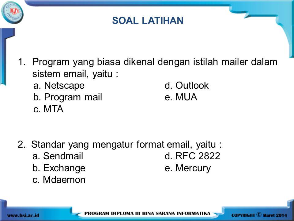 SOAL LATIHAN 1. Program yang biasa dikenal dengan istilah mailer dalam sistem email, yaitu : a. Netscape d. Outlook.