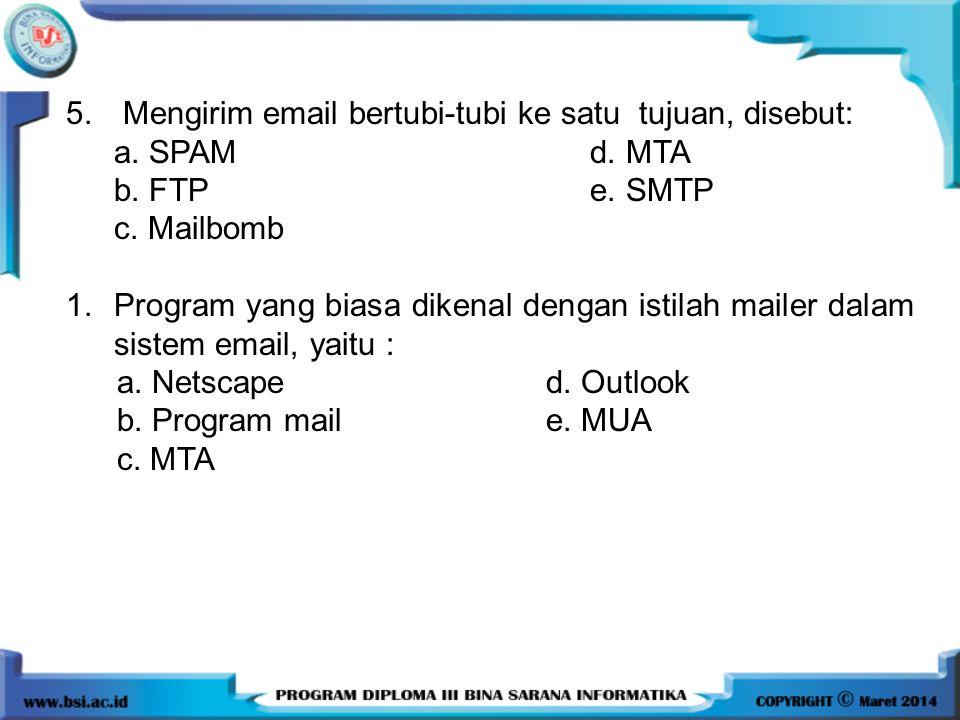 5. Mengirim email bertubi-tubi ke satu tujuan, disebut: