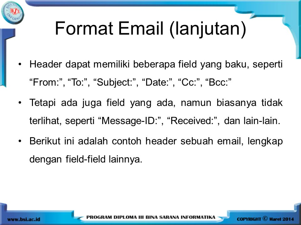 Format Email (lanjutan)