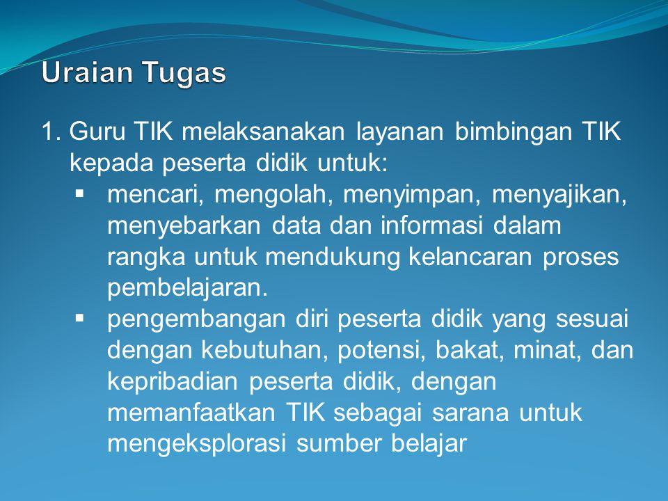 Uraian Tugas 1. Guru TIK melaksanakan layanan bimbingan TIK kepada peserta didik untuk: