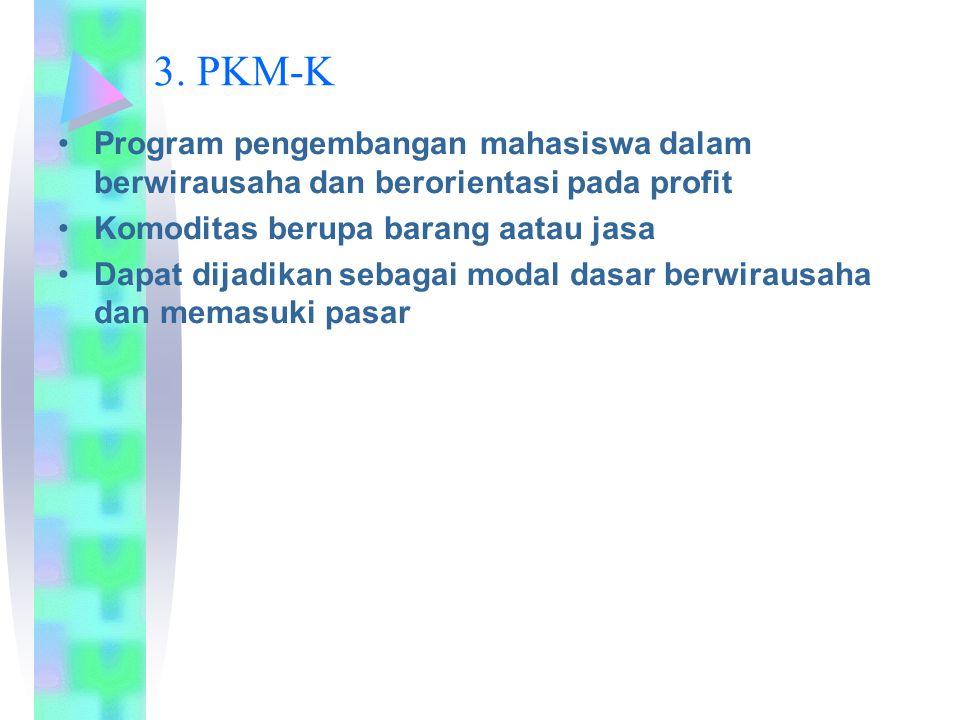3. PKM-K Program pengembangan mahasiswa dalam berwirausaha dan berorientasi pada profit. Komoditas berupa barang aatau jasa.