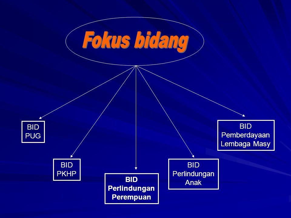 Fokus bidang BID PUG BID Pemberdayaan Lembaga Masy BID PKHP BID