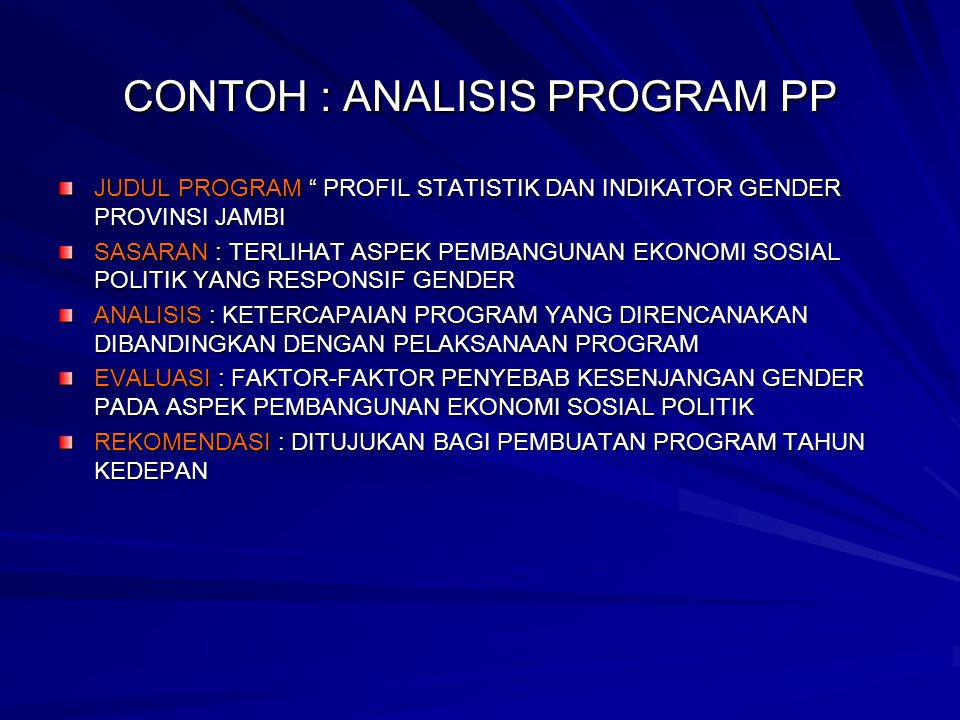 CONTOH : ANALISIS PROGRAM PP