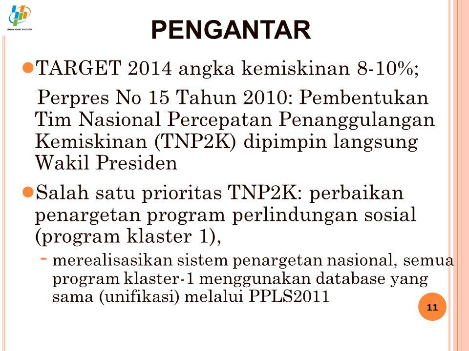 PENGANTAR TARGET 2014 angka kemiskinan 8-10%;