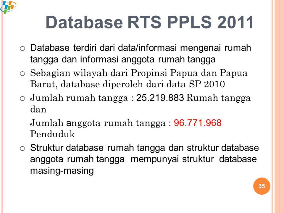 Database RTS PPLS 2011 Database terdiri dari data/informasi mengenai rumah tangga dan informasi anggota rumah tangga.