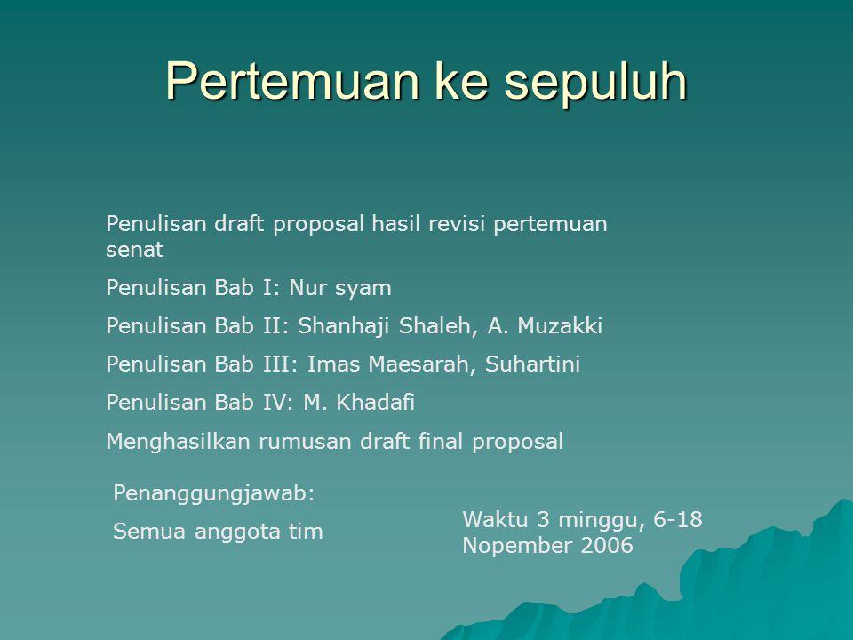 Pertemuan ke sepuluh Penulisan draft proposal hasil revisi pertemuan senat. Penulisan Bab I: Nur syam.
