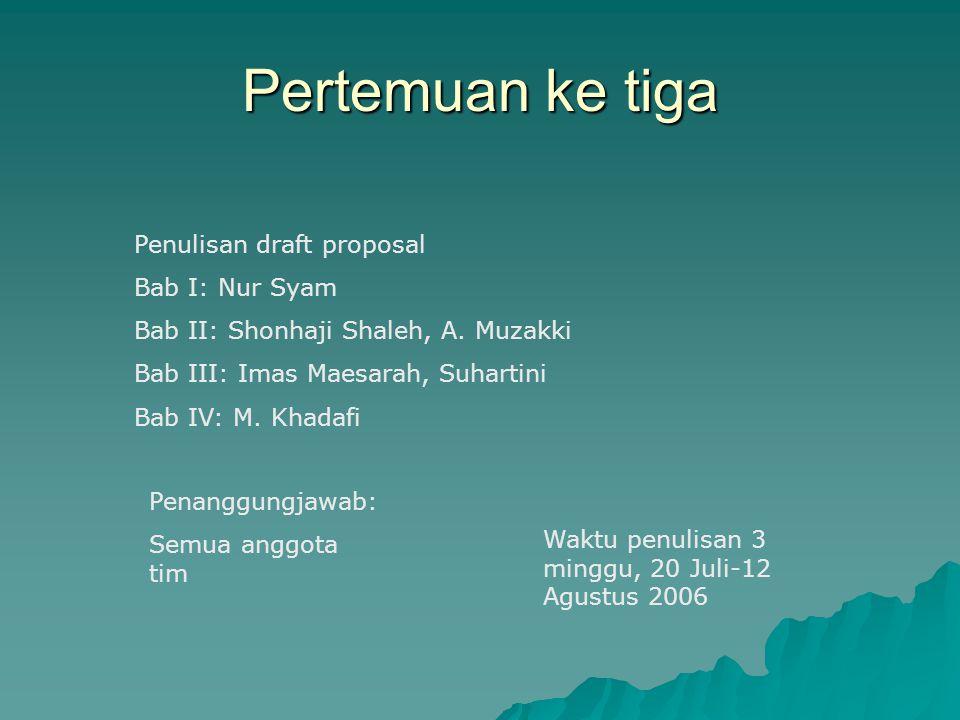 Pertemuan ke tiga Penulisan draft proposal Bab I: Nur Syam