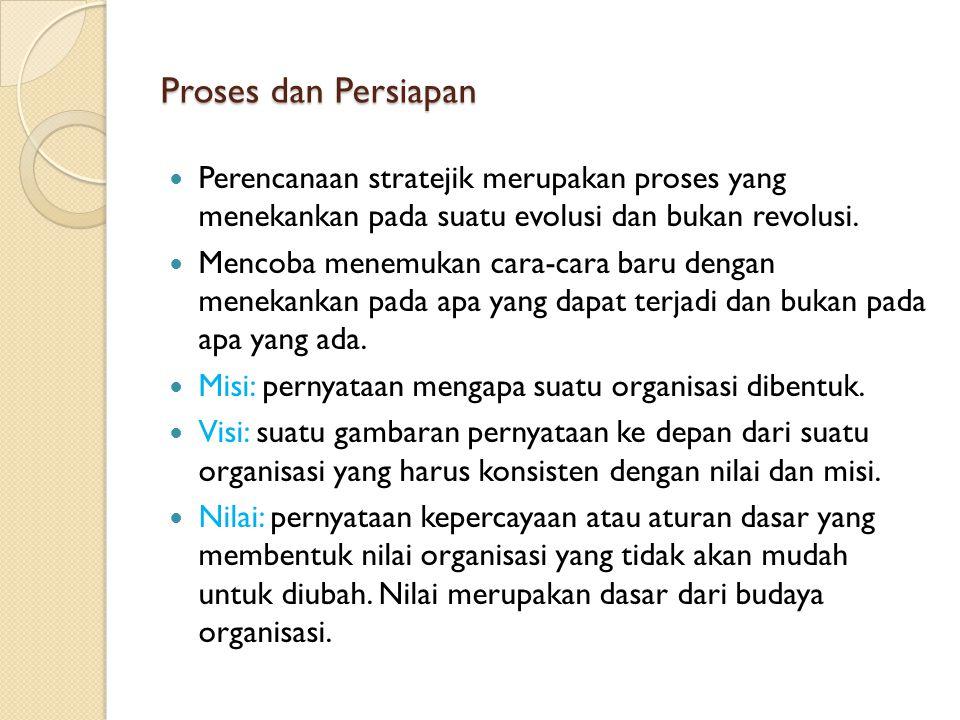 Proses dan Persiapan Perencanaan stratejik merupakan proses yang menekankan pada suatu evolusi dan bukan revolusi.