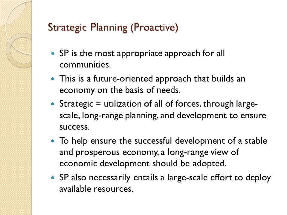 Strategic Planning (Proactive)