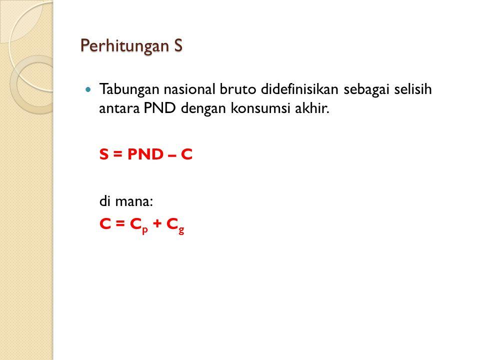 Perhitungan S Tabungan nasional bruto didefinisikan sebagai selisih antara PND dengan konsumsi akhir.