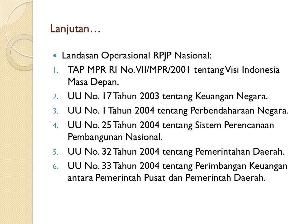 Lanjutan… Landasan Operasional RPJP Nasional: