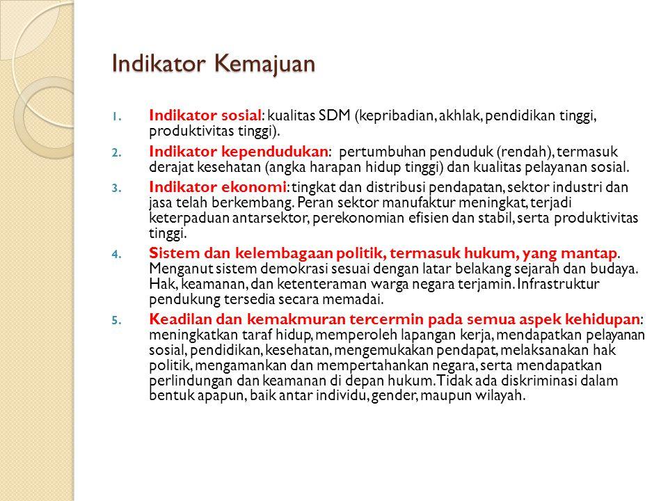 Indikator Kemajuan Indikator sosial: kualitas SDM (kepribadian, akhlak, pendidikan tinggi, produktivitas tinggi).