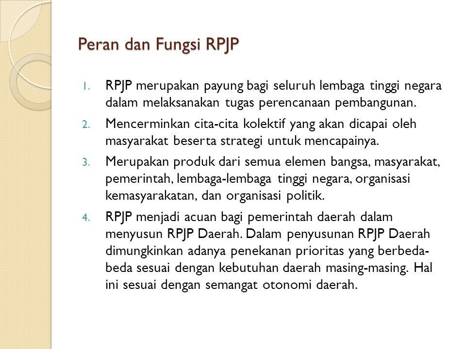 Peran dan Fungsi RPJP RPJP merupakan payung bagi seluruh lembaga tinggi negara dalam melaksanakan tugas perencanaan pembangunan.