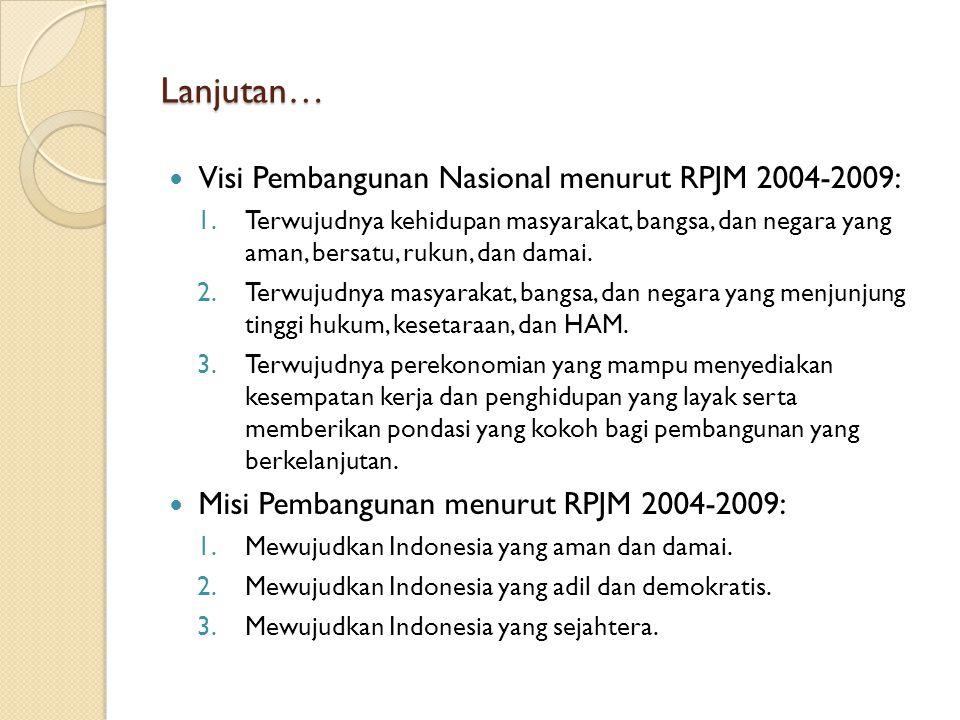 Lanjutan… Visi Pembangunan Nasional menurut RPJM 2004-2009: