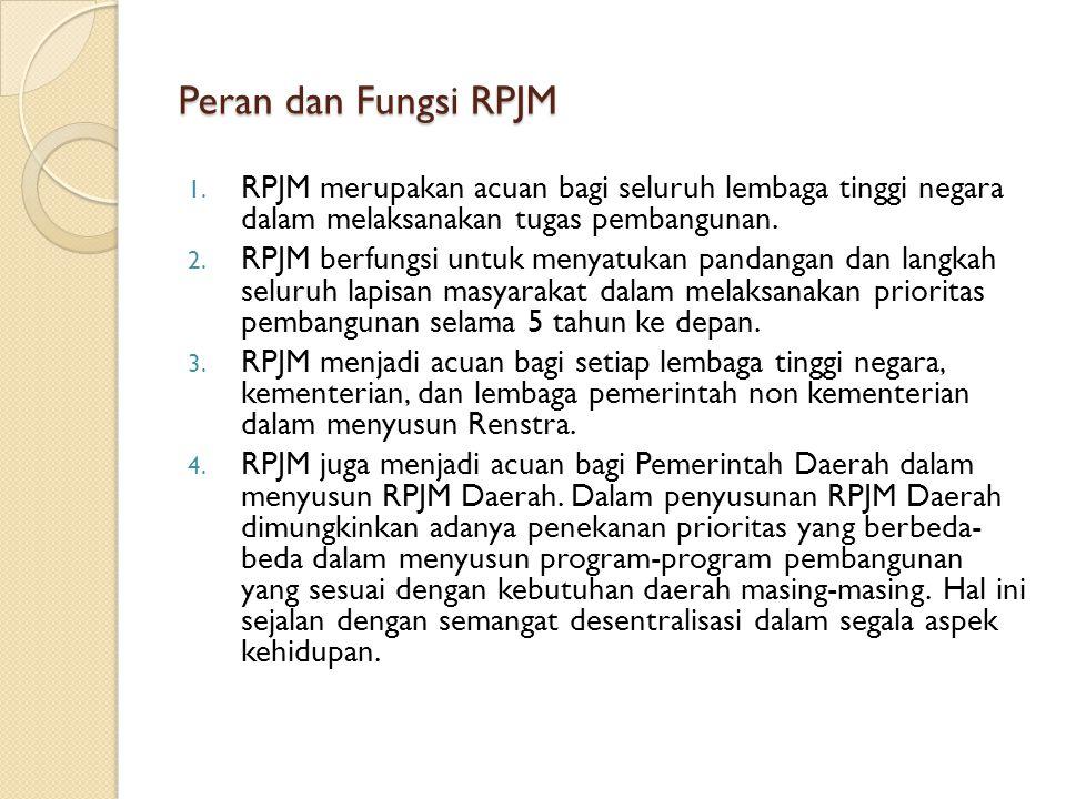 Peran dan Fungsi RPJM RPJM merupakan acuan bagi seluruh lembaga tinggi negara dalam melaksanakan tugas pembangunan.