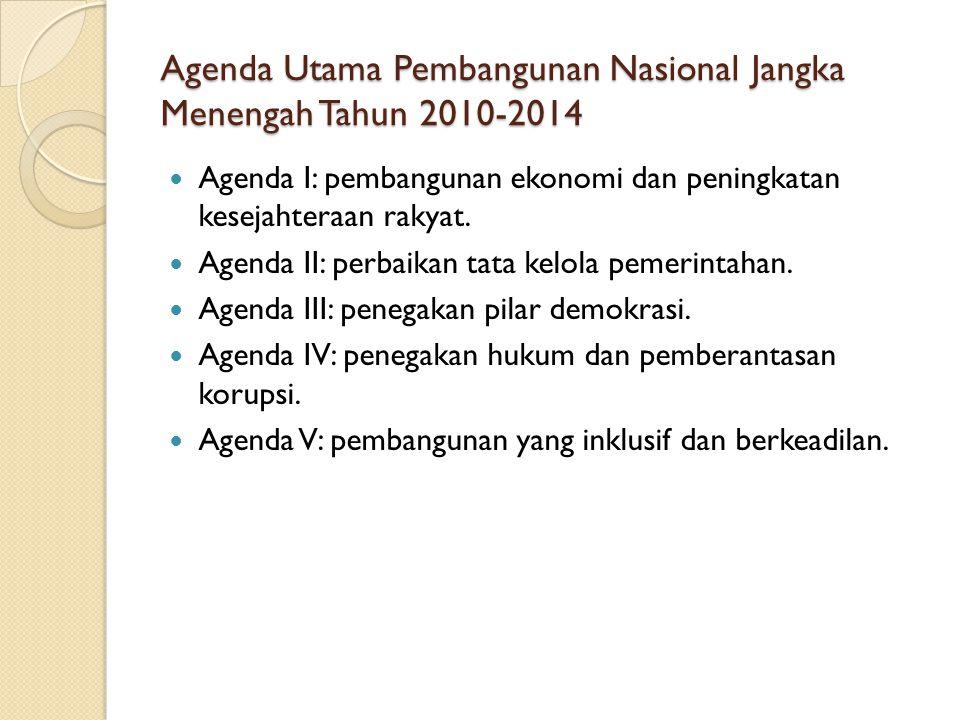 Agenda Utama Pembangunan Nasional Jangka Menengah Tahun 2010-2014
