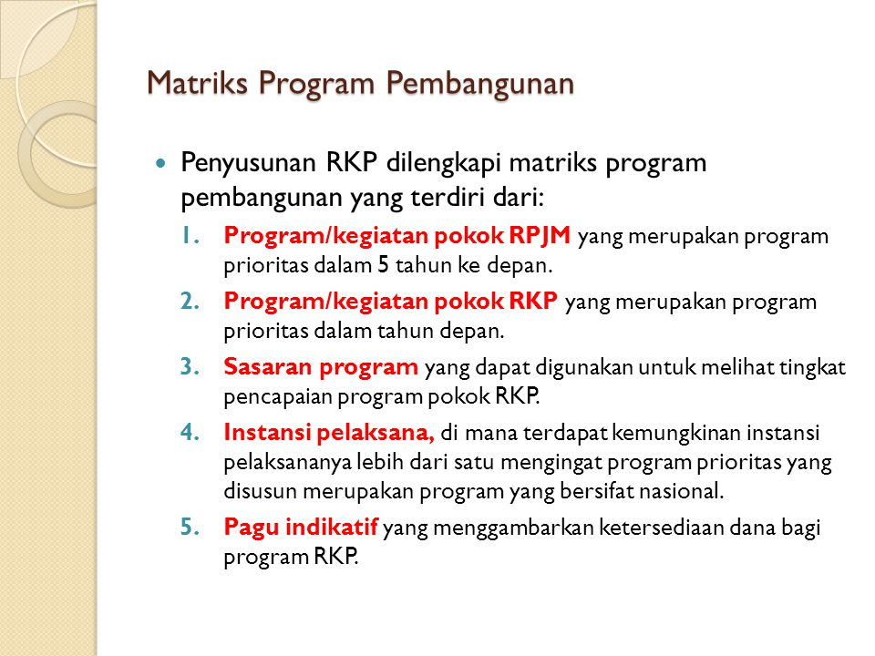 Matriks Program Pembangunan