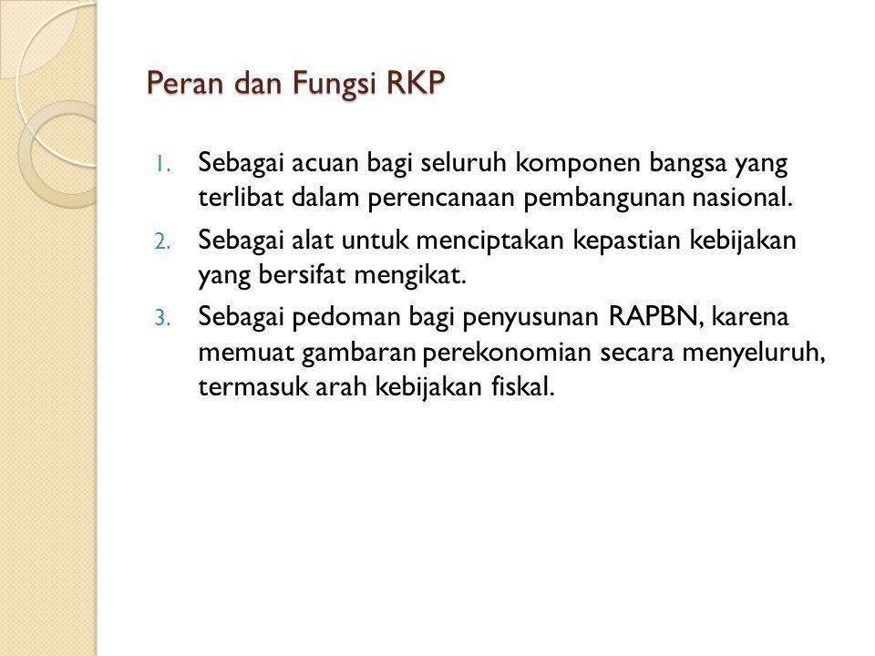 Peran dan Fungsi RKP Sebagai acuan bagi seluruh komponen bangsa yang terlibat dalam perencanaan pembangunan nasional.