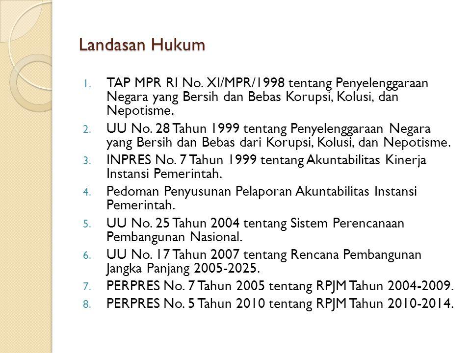 Landasan Hukum TAP MPR RI No. XI/MPR/1998 tentang Penyelenggaraan Negara yang Bersih dan Bebas Korupsi, Kolusi, dan Nepotisme.