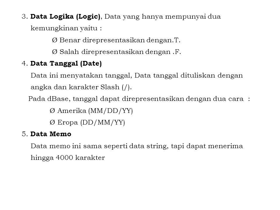 3. Data Logika (Logic), Data yang hanya mempunyai dua