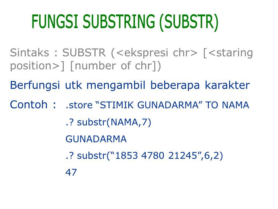 FUNGSI SUBSTRING (SUBSTR)