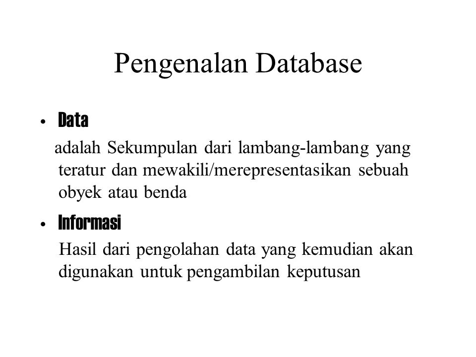 Pengenalan Database Data Informasi