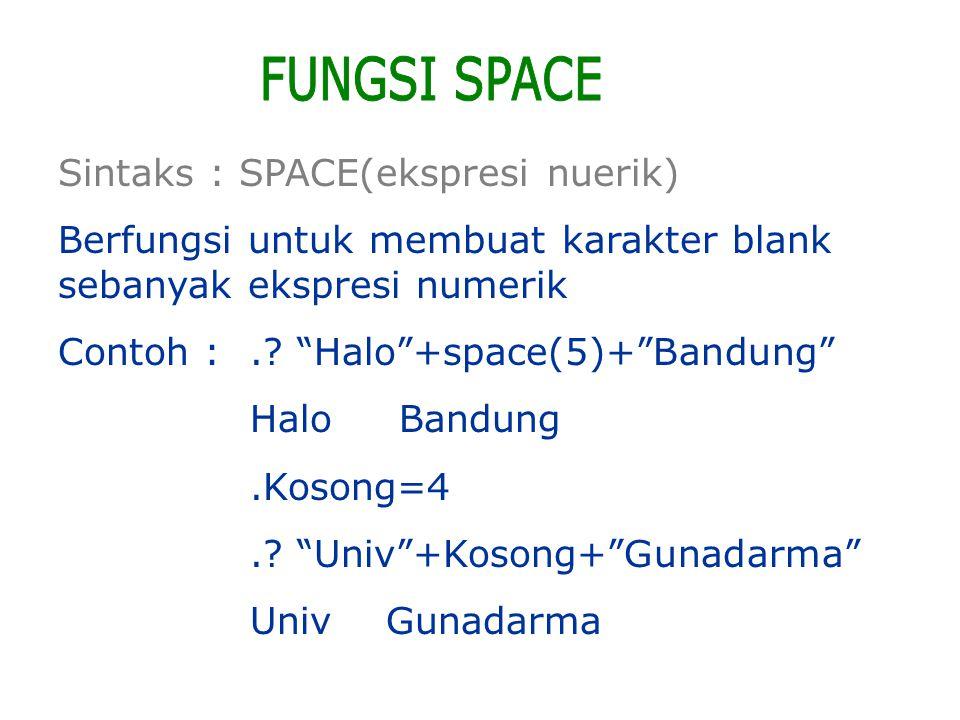 FUNGSI SPACE Sintaks : SPACE(ekspresi nuerik)