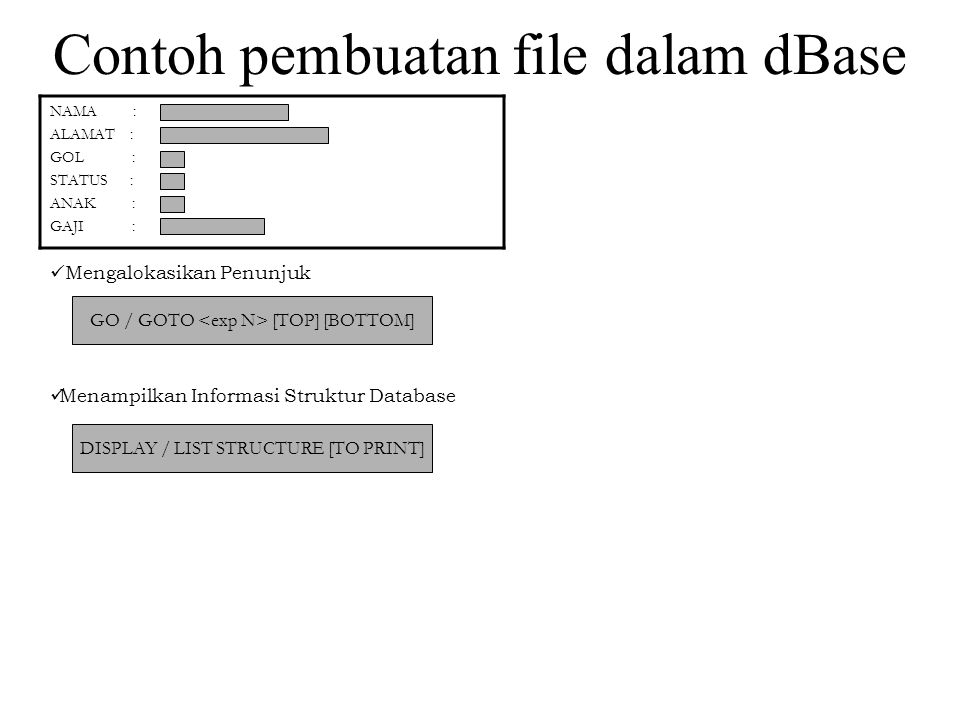 Contoh pembuatan file dalam dBase