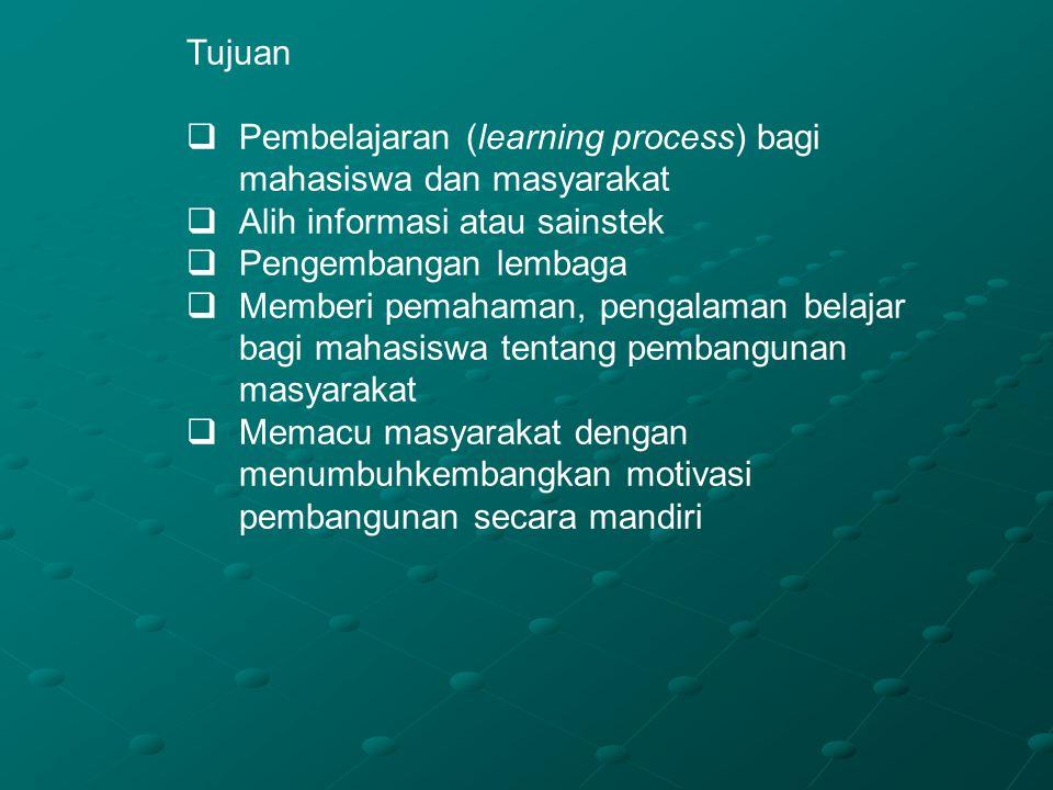 Tujuan Pembelajaran (learning process) bagi mahasiswa dan masyarakat. Alih informasi atau sainstek.