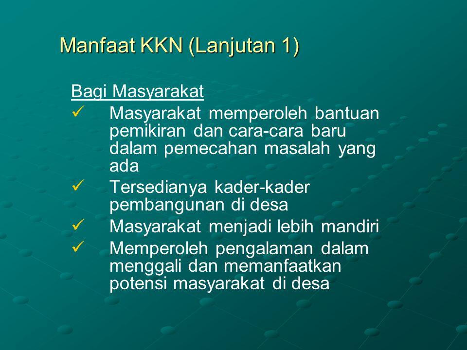 Manfaat KKN (Lanjutan 1)