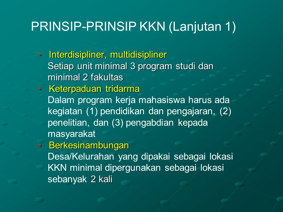 PRINSIP-PRINSIP KKN (Lanjutan 1)