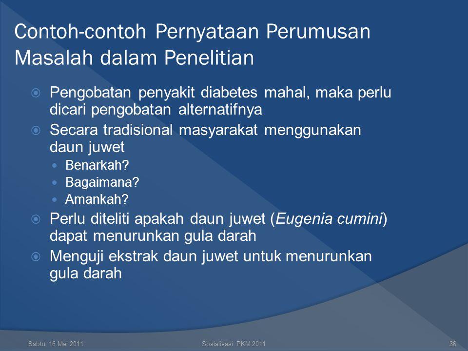 Contoh-contoh Pernyataan Perumusan Masalah dalam Penelitian