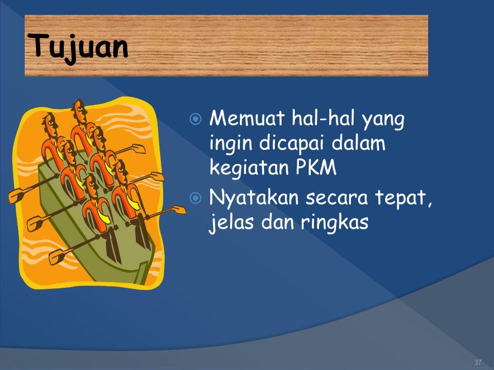 Tujuan Memuat hal-hal yang ingin dicapai dalam kegiatan PKM