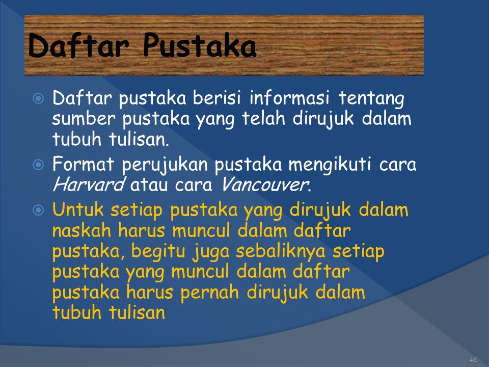 Daftar Pustaka Daftar pustaka berisi informasi tentang sumber pustaka yang telah dirujuk dalam tubuh tulisan.