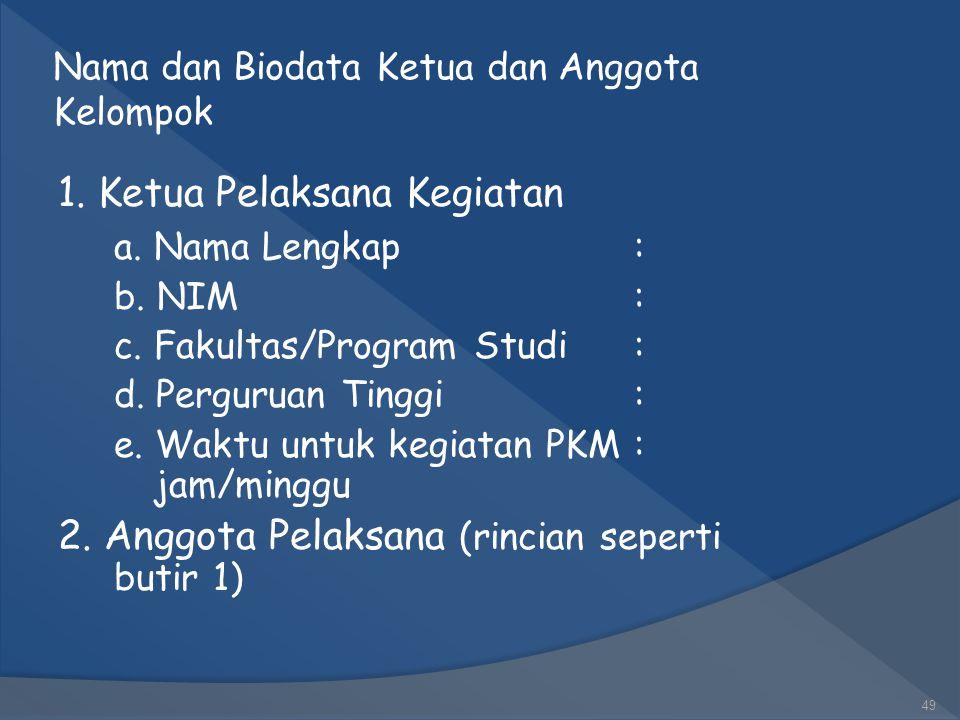 Nama dan Biodata Ketua dan Anggota Kelompok
