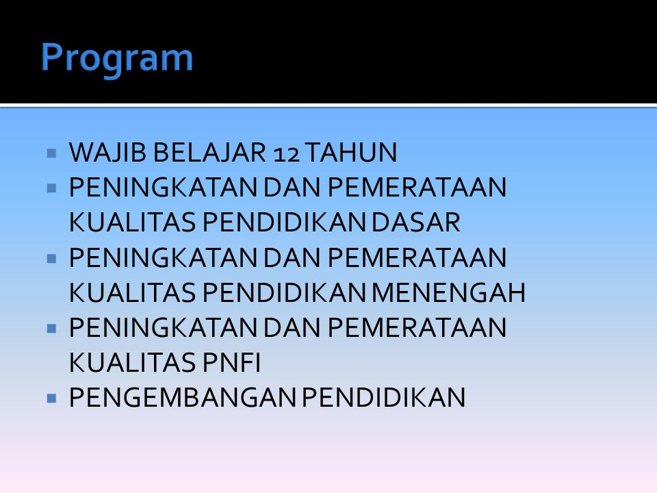 Program WAJIB BELAJAR 12 TAHUN