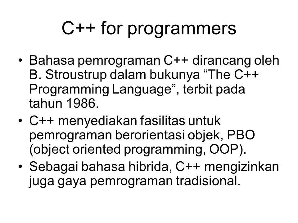 C++ for programmers Bahasa pemrograman C++ dirancang oleh B. Stroustrup dalam bukunya The C++ Programming Language , terbit pada tahun 1986.