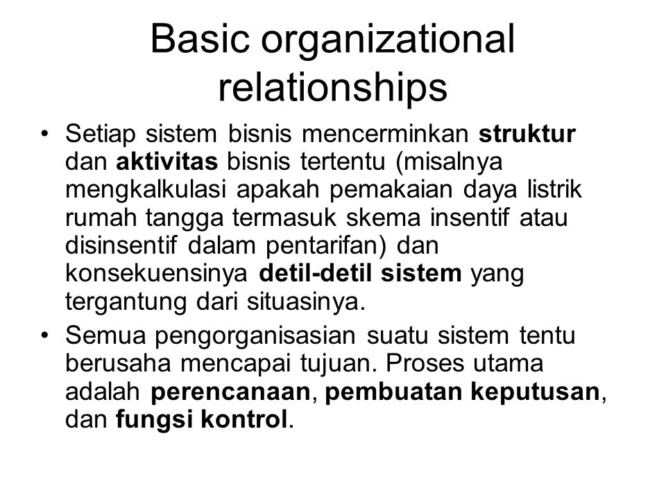 Basic organizational relationships