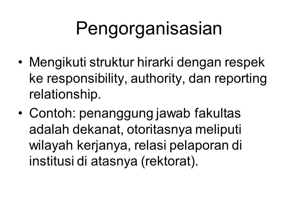 Pengorganisasian Mengikuti struktur hirarki dengan respek ke responsibility, authority, dan reporting relationship.
