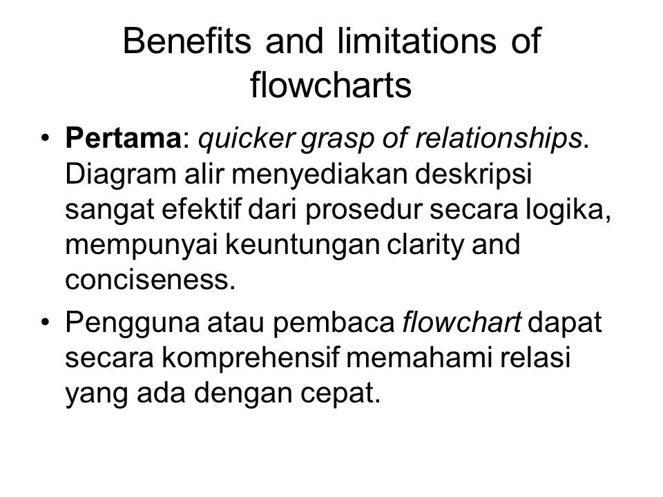 Benefits and limitations of flowcharts