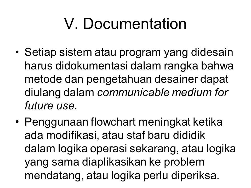 V. Documentation