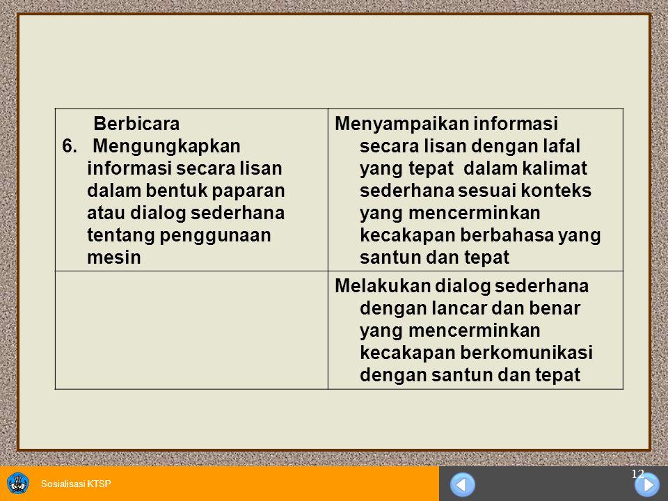 Berbicara 6. Mengungkapkan informasi secara lisan dalam bentuk paparan atau dialog sederhana tentang penggunaan mesin.