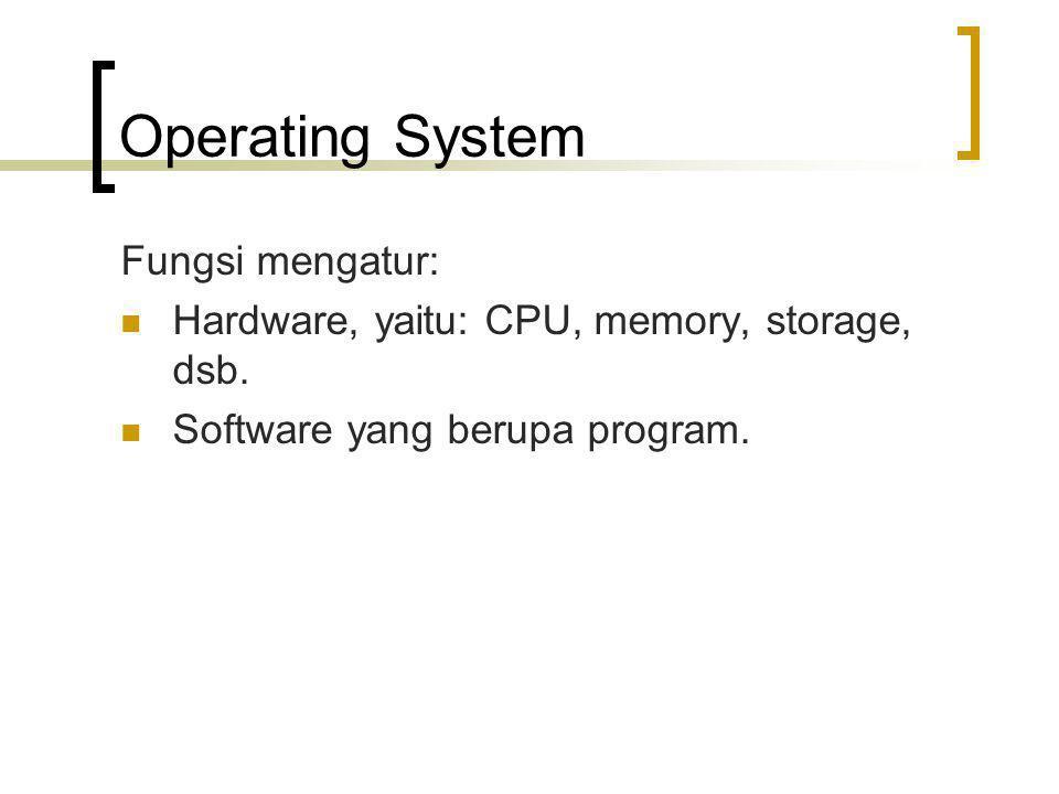 Operating System Fungsi mengatur: