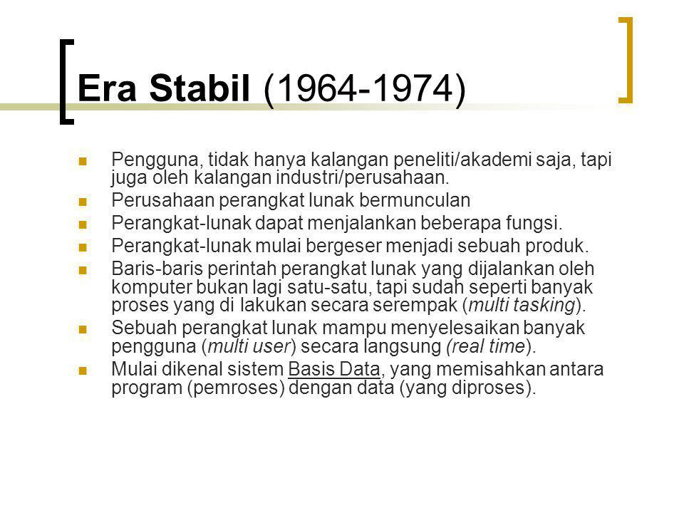 Era Stabil (1964-1974) Pengguna, tidak hanya kalangan peneliti/akademi saja, tapi juga oleh kalangan industri/perusahaan.