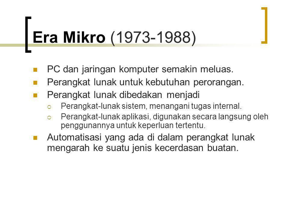 Era Mikro (1973-1988) PC dan jaringan komputer semakin meluas.