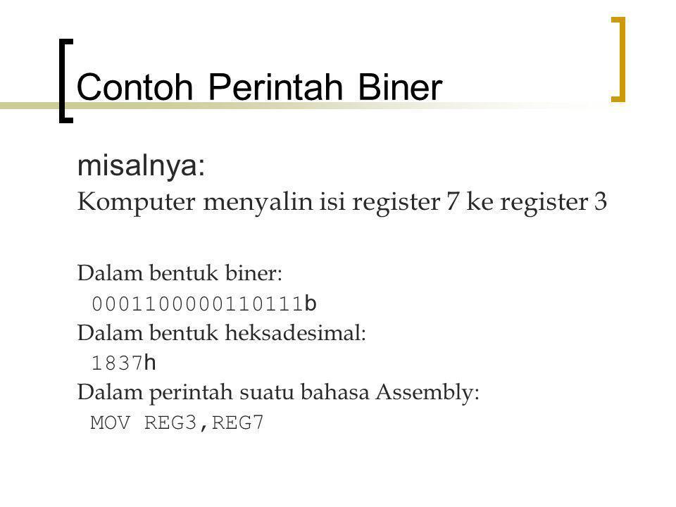 Contoh Perintah Biner misalnya: