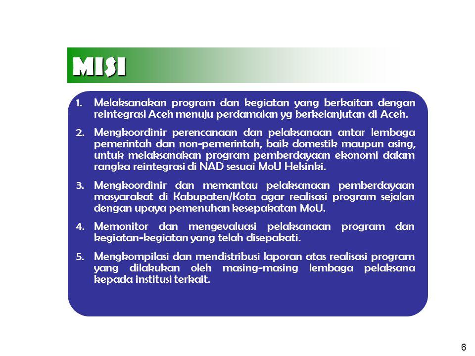 MISI Melaksanakan program dan kegiatan yang berkaitan dengan reintegrasi Aceh menuju perdamaian yg berkelanjutan di Aceh.