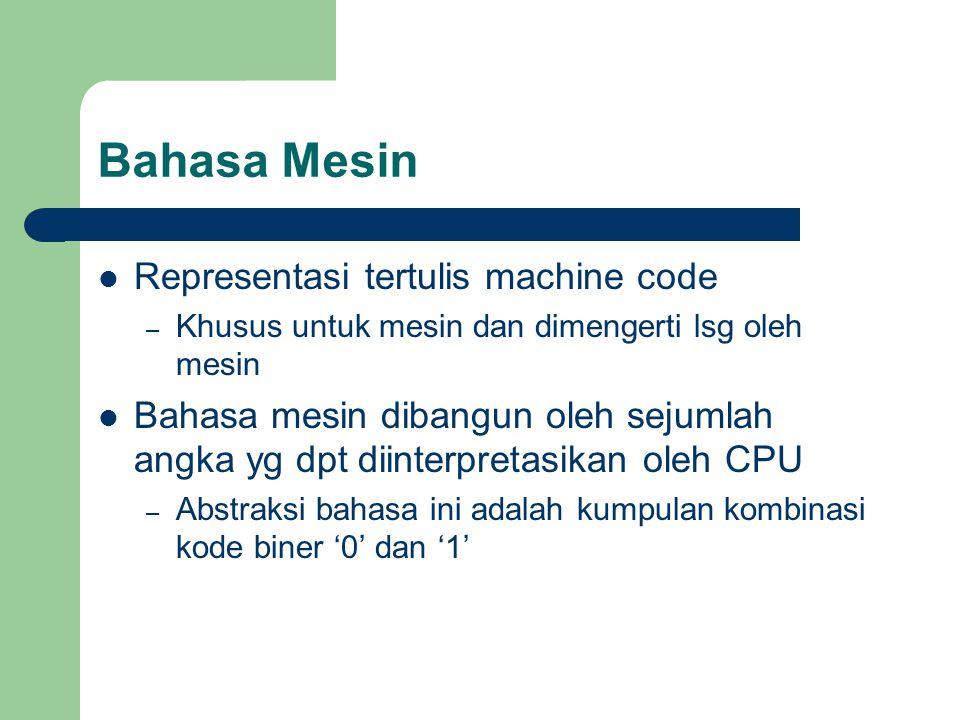 Bahasa Mesin Representasi tertulis machine code