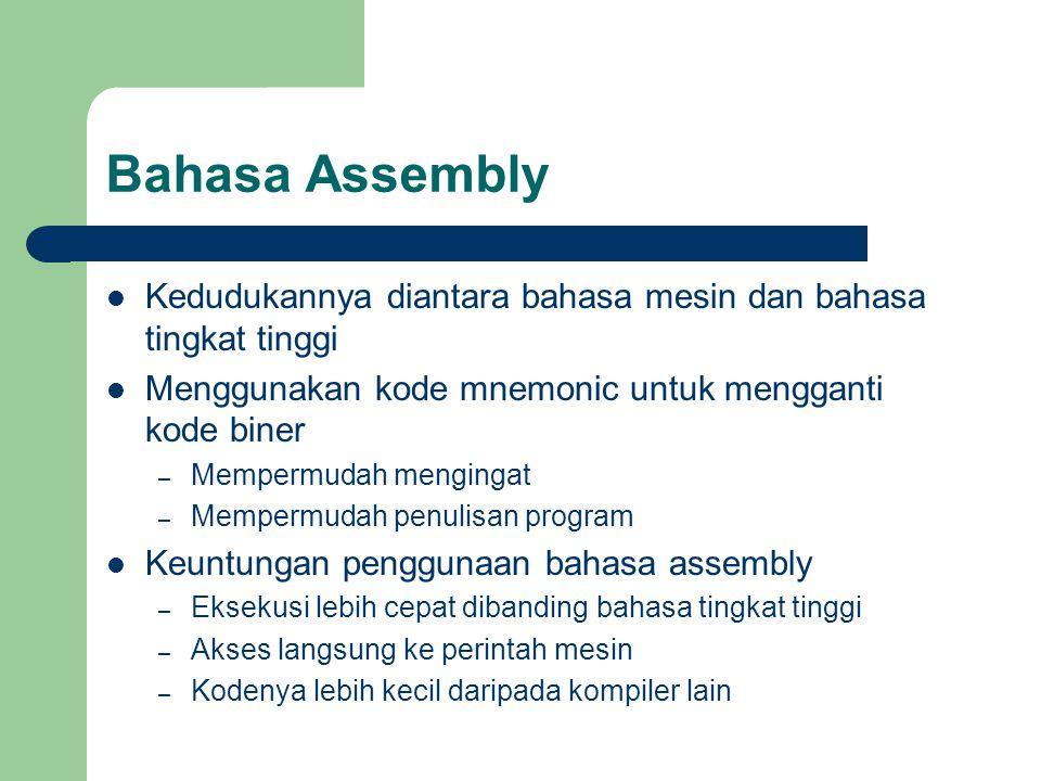 Bahasa Assembly Kedudukannya diantara bahasa mesin dan bahasa tingkat tinggi. Menggunakan kode mnemonic untuk mengganti kode biner.